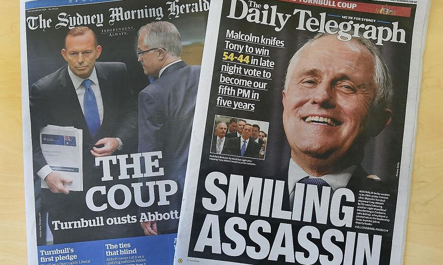 Australian papers showing new prime minister Malcolm Turnbull after he ousted Mr Tony Abbott in a party vote on Sept 14, 2015. The recent reversal is seen as an act of revenge. Where towering personal ambitions meet huge but often fragile egos, venge