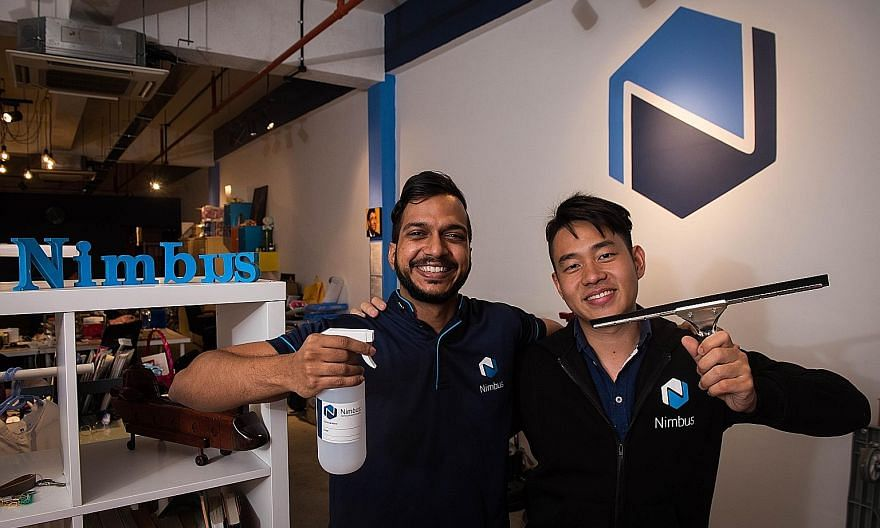 Mr Abdul Fareed Mustakin (far left) impressed his boss, Mr Daniel Thong (left), so much during his six-month internship two years ago that he was asked to continue in a permanent position while he studied. Later, when Mr Thong started a new firm, Nim