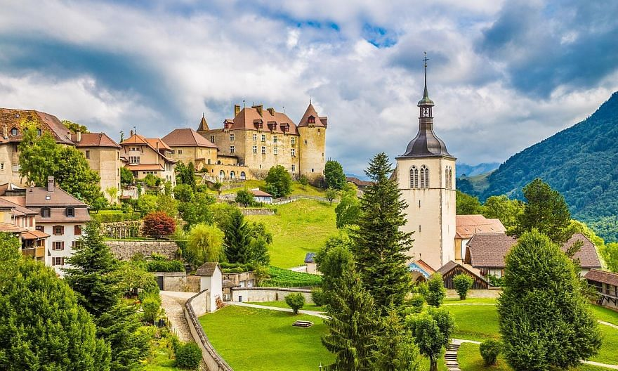 Gruyeres is a small mediaeval town perched on top of a hill and home to gruyere cheese.