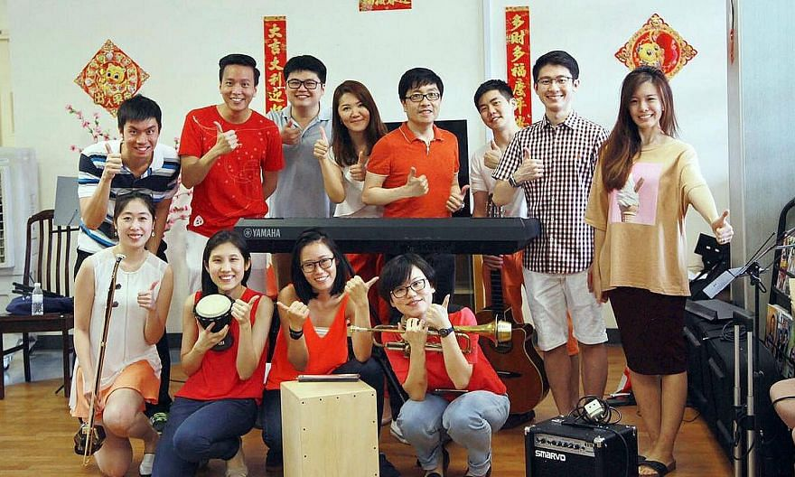 Mr Jeremy Sun (standing, fifth from left) with the Play For Good band at a recent performance in a nursing home. The band started playing at homes in 2015.