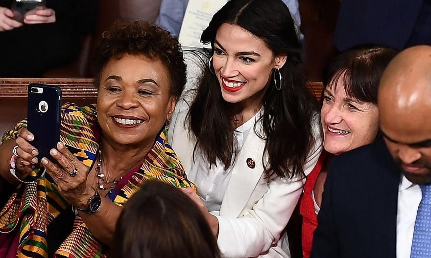 Ms Alexandria Ocasio-Cortez, 29, was bar-tending and waitressing before her historic election victory.