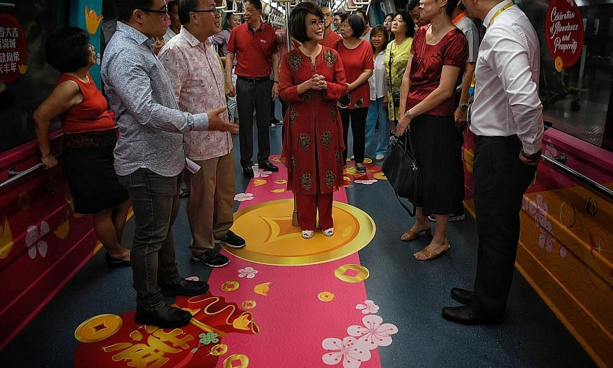 To celebrate the Year of the Pig, selected MRT trains and public buses have been decorated with Chinese zodiac motifs, and other auspicious Chinese New Year icons, such as gold ingots and cherry blossoms. The initiative is a collaboration between the