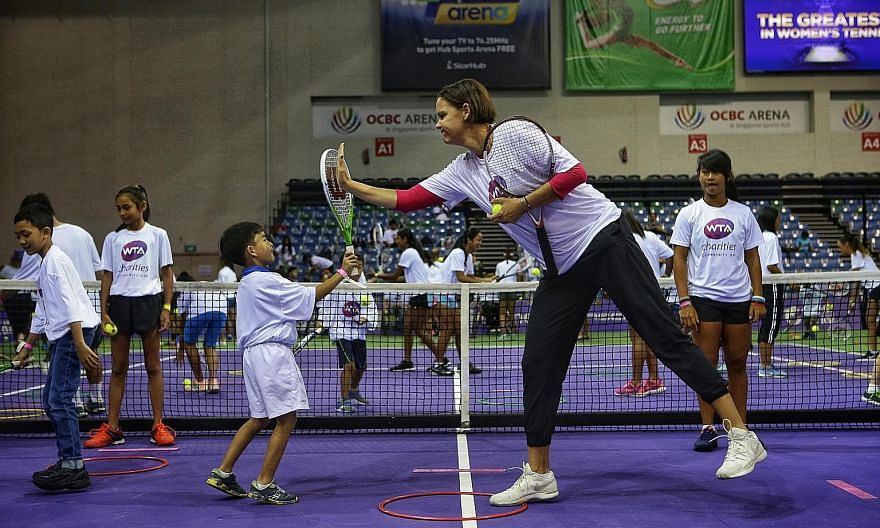 Striking a balance between community and profit is important for the Sports Hub. Back in 2017, WTA Finals ambassador Lindsay Davenport helped introduce the sport to children during the WTA Charities Community Day at the OCBC Arena.