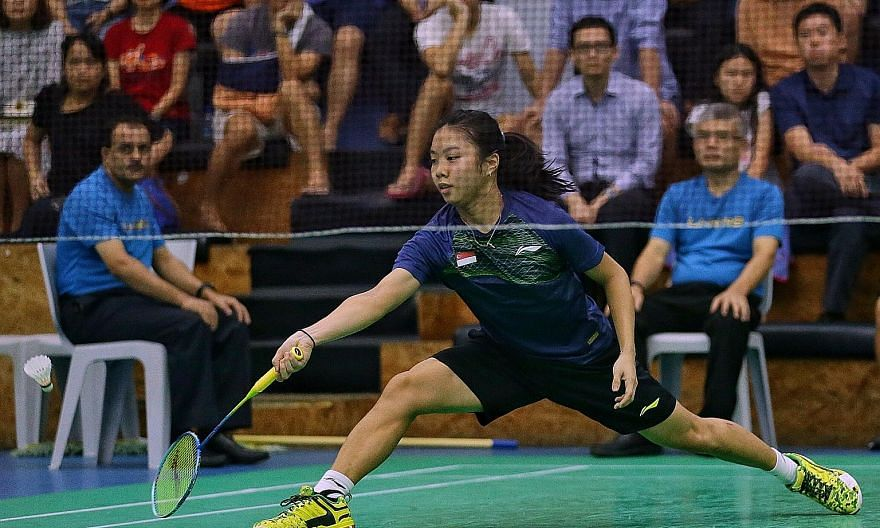Birthday girl Yeo Jia Min (above) trailed Jaslyn Hooi in both games during the women's singles final of the Singapore National Open Championships last night but, each time, she clawed her way back into contention and eventually victory.