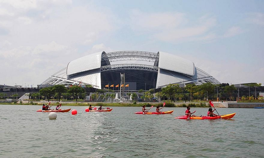 People canoeing at the Sports Hub's Water Sports Centre. Sports Hub CEO Oon Jin Teik unexpectedly resigned on Jan 28.
