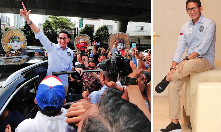 """Vice-presidential candidate Sandiaga Uno waving to the crowd in Kemang on Feb 17 (left). He had attended the launch of an """"I'm SandiUno"""" app and met youth volunteers and supporters at a cafe there. Later at an interview in his camp's media centre (be"""