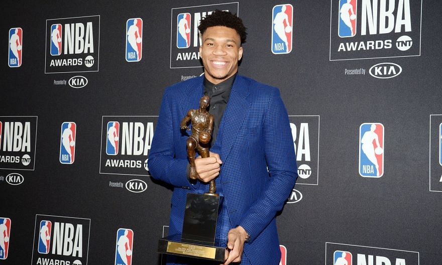 Milwaukee Bucks' 24-year-old forward Giannis Antetokounmpo with the Most Valuable Player award at the NBA Awards show on Monday. PHOTO: REUTERS