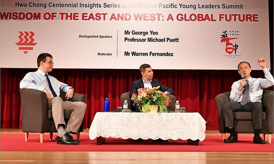 (From left) Professor Michael Puett of Harvard University; Mr Warren Fernandez, moderator and editor-in-chief of Singapore Press Holdings' English/Malay/Tamil Media Group; and former foreign minister George Yeo at a dialogue on the wisdom of the East