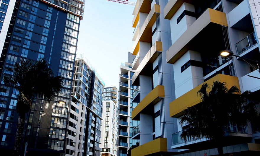 New apartment blocks in the suburb of Wolli Creek in Sydney. The HSBC International Mortgage will allow the borrower to choose the loan currency in Australian or Singapore dollars. PHOTO: BLOOMBERG
