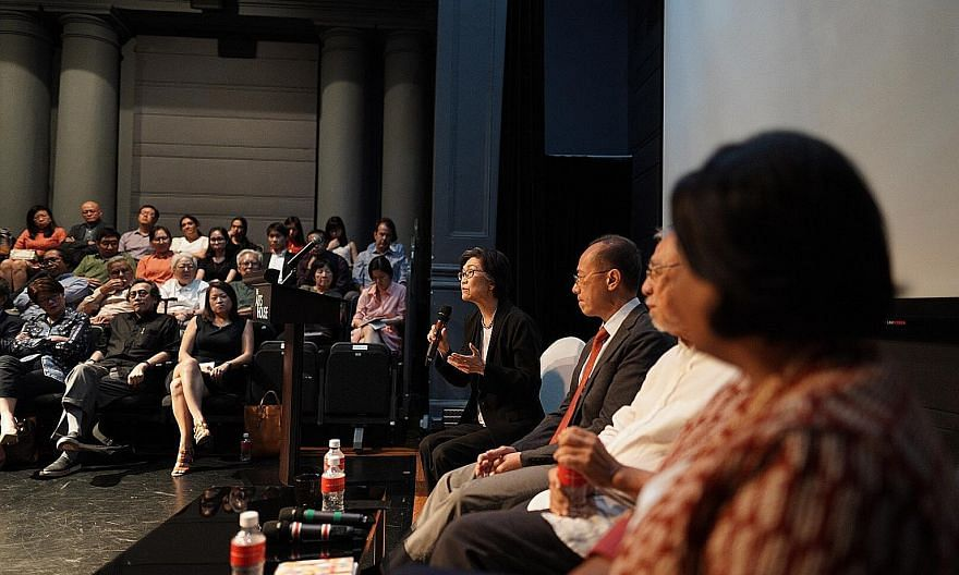Professor Chan Heng Chee of the Lee Kuan Yew Centre for Innovative Cities at the Singapore University of Technology and Design speaking yesterday during the launch at The Arts House of the book Singapore's Multiculturalism: Evolving Diversity, which