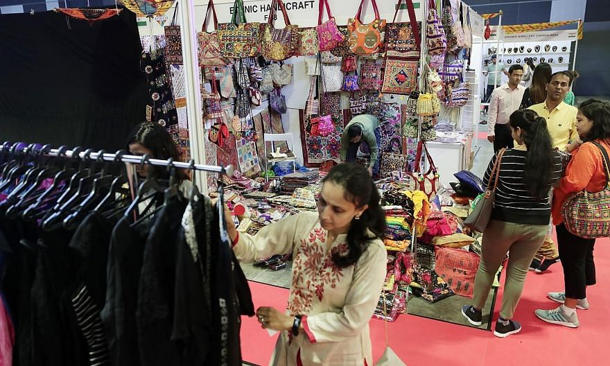 Shoppers checking out the items on sale at a recent edition of the Singapore International Indian Expo.