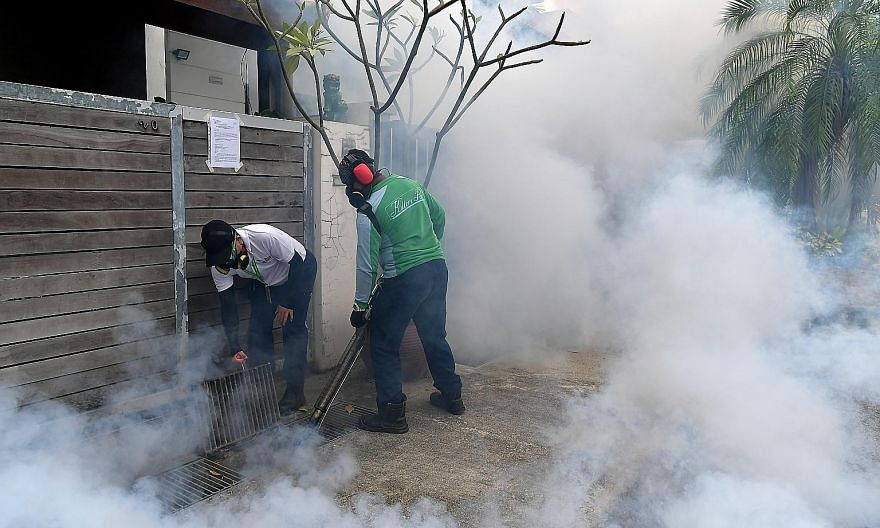 Pest control and National Environment Agency officers conducting fogging in Hemsley Avenue in Serangoon Gardens on Sunday. Three cases of locally transmitted Zika virus infection were confirmed in Hemsley Avenue last week, bringing the total number o