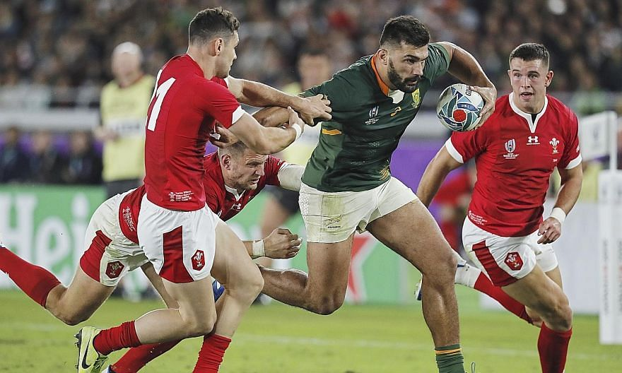 South Africa fly-half Handre Pollard kicked 14 points, including the match-winning penalty that sent his country into their third World Cup final. Teammate Damian de Allende's (above) second-half try was another key moment in the Springboks' 19-16 win ove