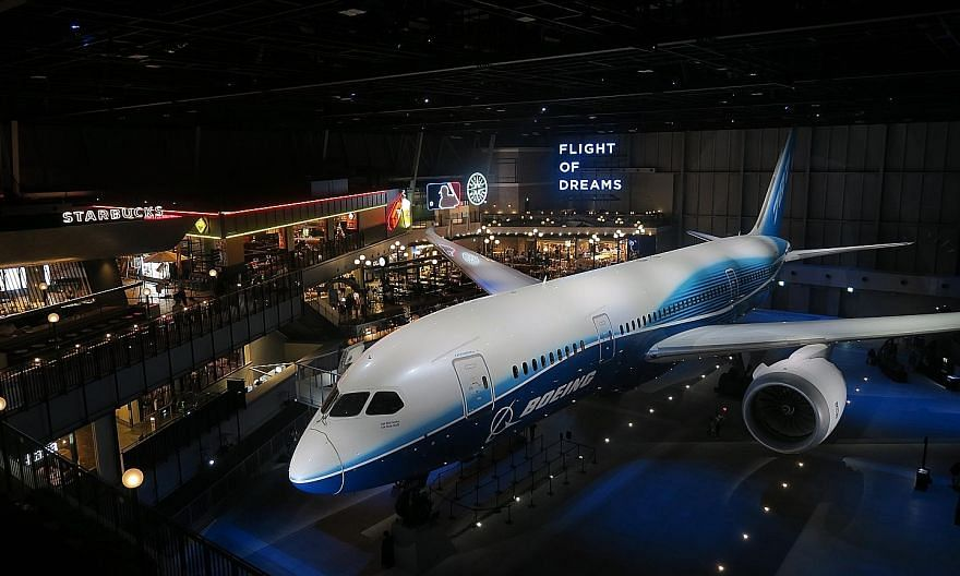 The Flight of Dreams exhibition hall next to Nagoya's Chubu Centrair Airport pays homage to aviation giant Boeing's roots in Seattle - replete with a Starbucks outlet and other American-style diners - and is home to the first Boeing 787 aircraft that