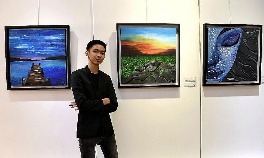 J'den Teo, 13, is hoping to raise $40,000 from the sale of his paintings and art book for The Straits Times School Pocket Money Fund, which provides pocket money to children from low-income families. His art exhibition, which is being held at the Vis