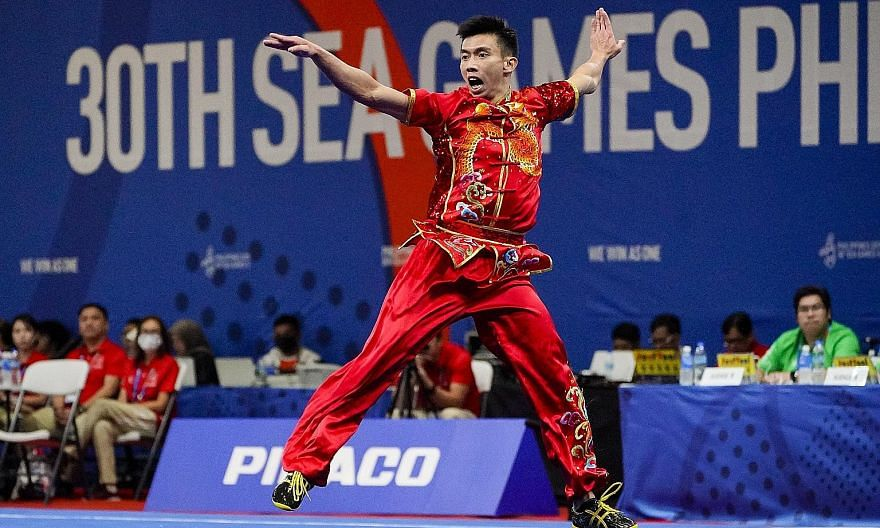 Wushu exponent Yong Yi Xiang, 25, in action during the men's changquan event yesterday morning. He kicked off Singapore's gold medal campaign by clinching top spot. PHOTO: SNOC Singapore figure skater Chloe Ing took home the gold medal in the women's