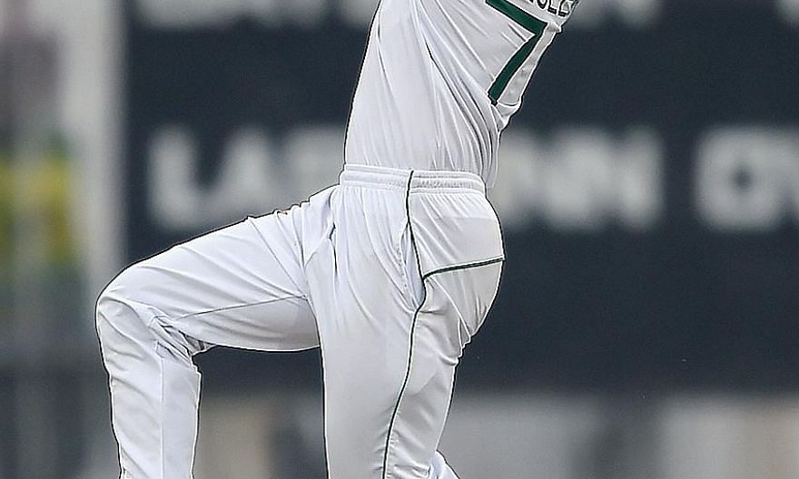 Pakistan's Naseem Shah delivering a ball during the first Test against Sri Lanka at the Rawalpindi Cricket Stadium yesterday.