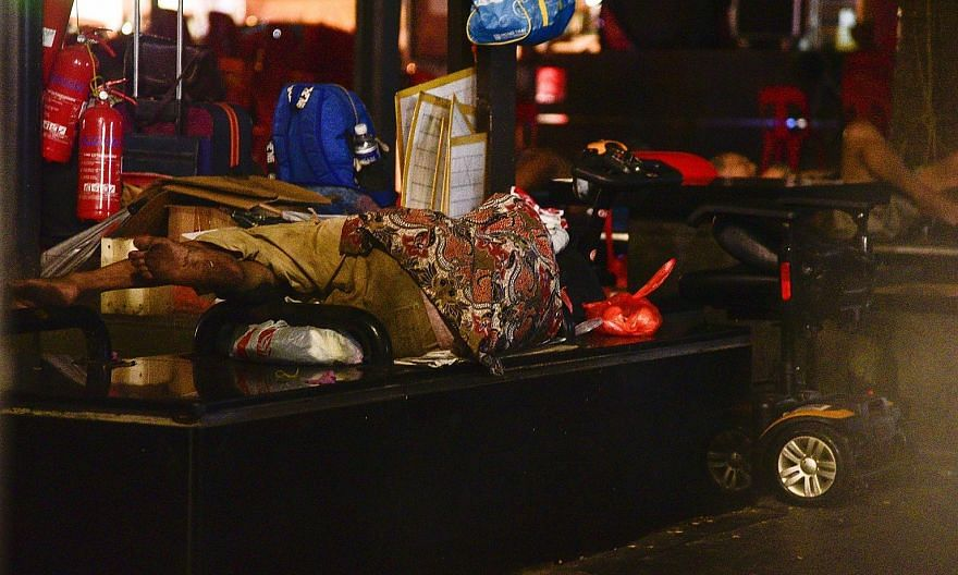 The first nationwide study of homelessness in Singapore last month found about 1,000 people sleeping on the streets. Half of those polled had been doing so for between one and five years, while six in 10 were working, mostly in low-wage positions suc