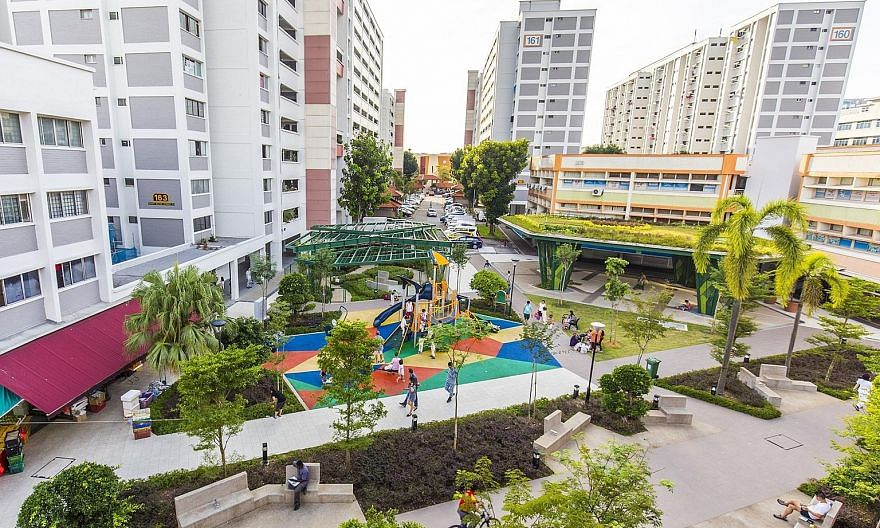 Jurong East Town Centre, which comprises Blocks 130 to 135 Jurong Gateway Road, has been renamed J Connect, and given a modern look with lush landscaping. PHOTO: INTERCONSULTANTS Bukit Batok West Shopping Centre now has a community pavilion with roof