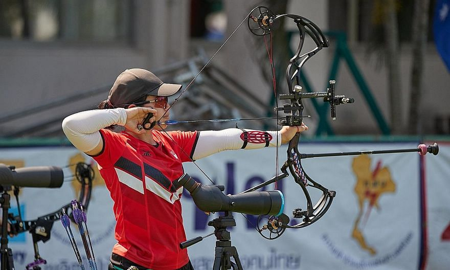 Contessa Loh won the gold via a walkover after Thai authorities cancelled her final opponent's visa. PHOTO: WORLD ARCHERY ASIA
