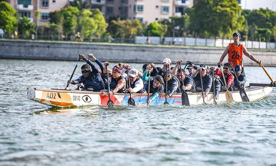 The American Dragons Singapore competing in a tournament in 2018. They were set to race in the May 29-31 DBS Marina Regatta, which was cancelled owing to the coronavirus pandemic. PHOTO COURTESY OF AMERICAN DRAGONS SINGAPORE