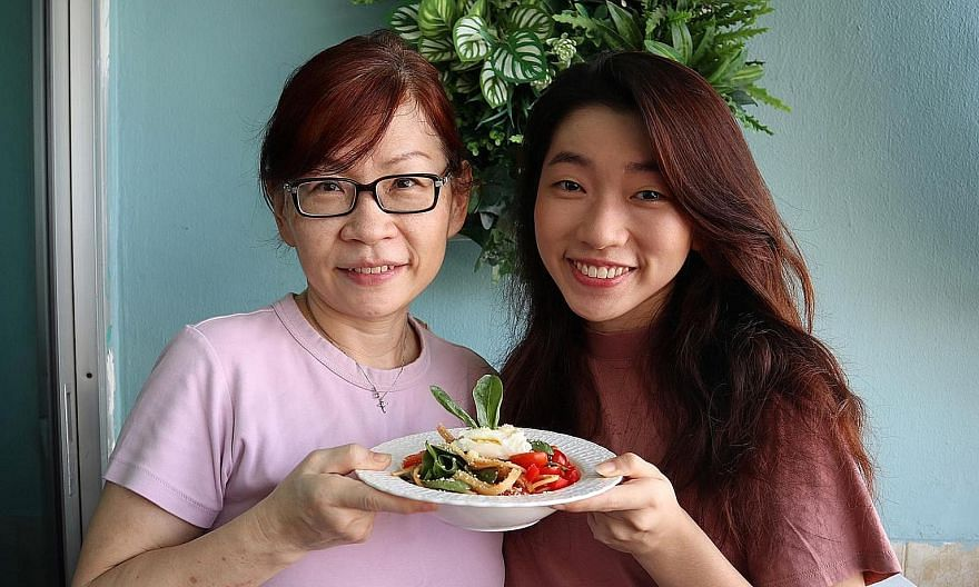 Fresh graduate Andreia Ko, who became a vegetarian in February, convinced her family, including her mother, Mrs Shirlyn Ko, 54, to commit to a week of vegetarian meals, during which they prepared dishes such as vegetarian pasta.