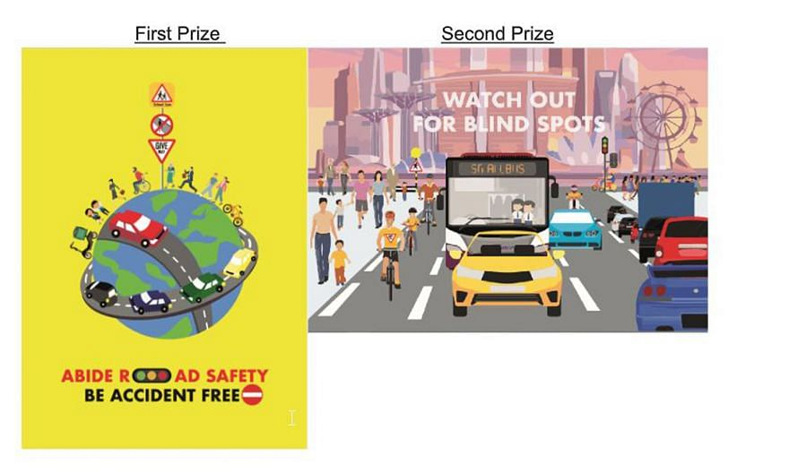 The top three winning entries in the school category of the road safety art competition. The launch of the Singapore Road Safety Month comes after a slowdown in traffic activity during the past two months, which saw road accidents declining by over 4