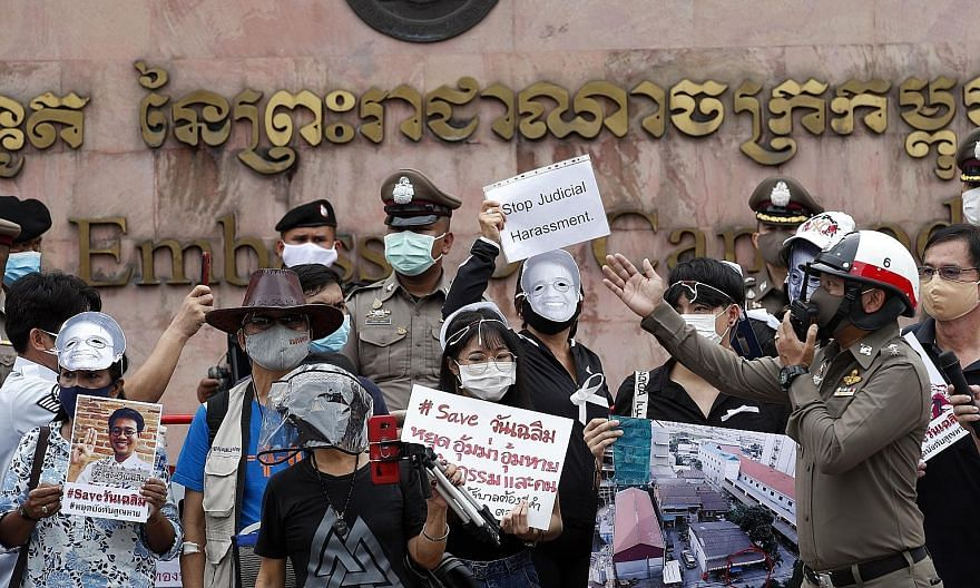 """A group of up to 30 protesters gathering in front of the Cambodian embassy in Bangkok on Monday, chanting """"Save Wanchalearm"""" and accusing the Thai authorities of being involved in Thai activist Wanchalearm Satsaksit's disappearance. His alleged abduc"""