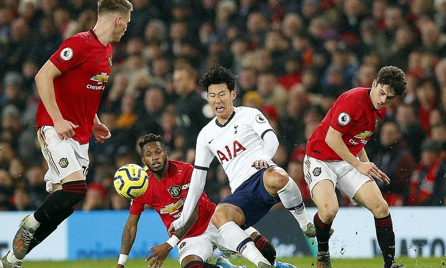 Spurs' Son Heung-min being tackled by Manchester United's Fred, as Scott McTominay and Daniel James close in during the two sides' last Premier League meeting. The super-fit South Korean could be even more of a handful today, after his tough three-we