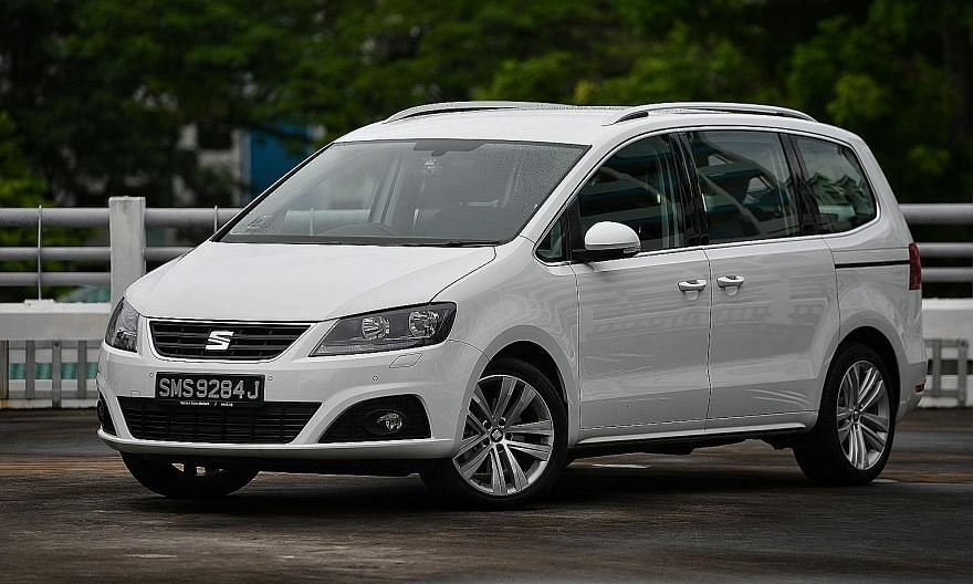 The Seat Alhambra multi-purpose vehicle has safety features such as seven airbags, blind spot detection and a braking system that prevents or lessens the impact after a collision.
