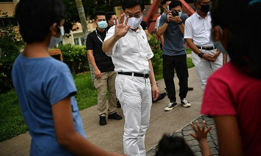 TAMPINES GRC: Deputy Prime Minister Heng Swee Keat at his former Tampines Central ward yesterday. Mr Heng, who is standing in East Coast GRC, thanked residents for their support and asked that they support his successor, Senior Minister of State for