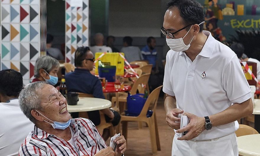 The PAP's Mr Liang Eng Hwa in Fajar Road on Wednesday. The three-term MP, who is contesting Bukit Panjang SMC this election, said that he had not shied away from debating on major national issues.