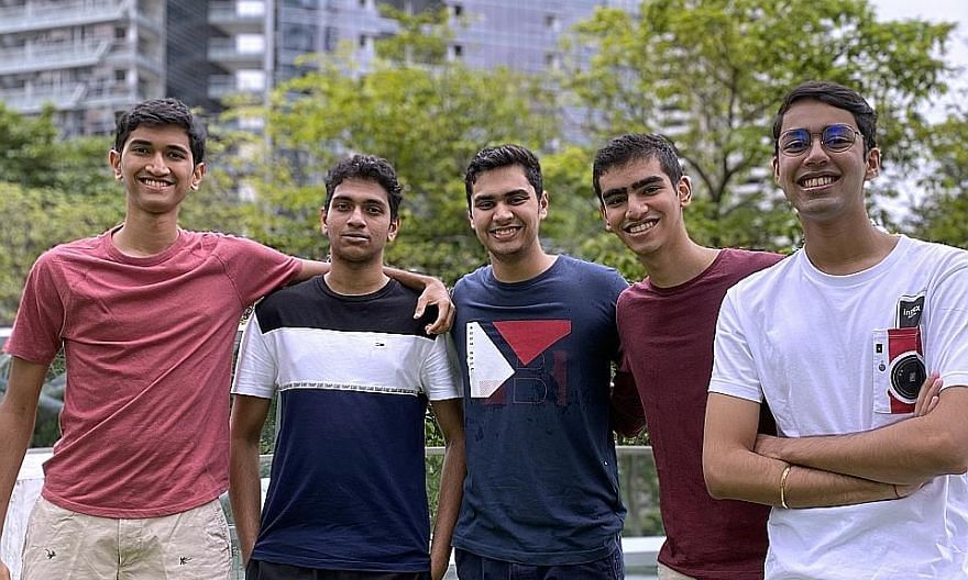 Students (from left) Vivek Venkatram, Logan Sethu, Atishay Dikshit, Rohan Punamiya and Gitansh Arora initiated Can Mah!, which pairs seniors with people who can help them get groceries.