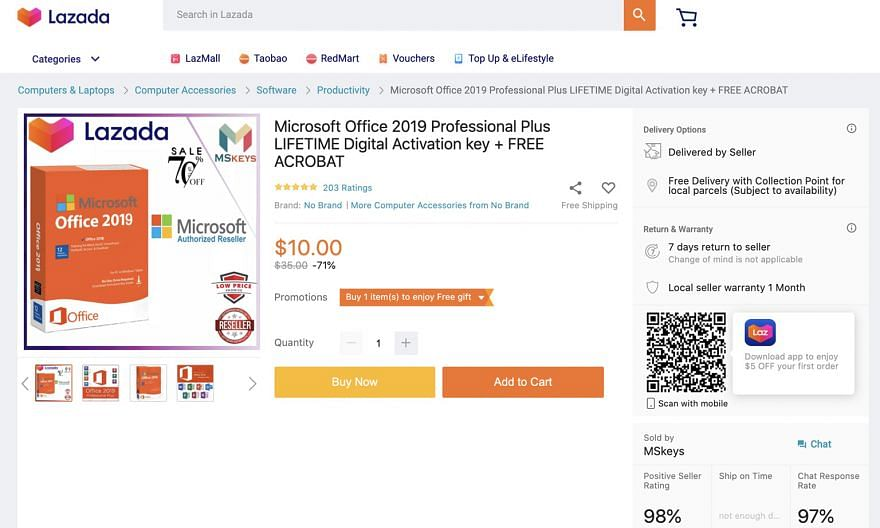 "The product keys peddled are believed to be copies for the education sector and for other corporate subscriptions. Microsoft said it neither sells ""lifetime"" subscriptions nor does it sell product keys by themselves."