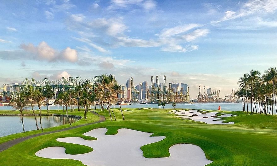 The fifth hole of the Serapong Course at Sentosa Golf Club, the World's Best Golf Club (World Golf Awards). Among its environmental features are the creation of its own bee colonies, using rechargeable lithium batteries in golf carts, and banning sin