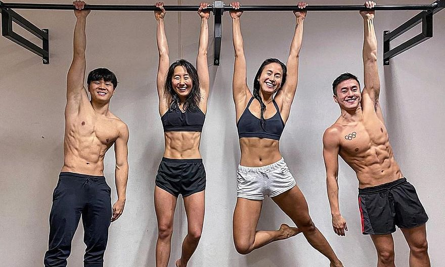 Singapore swimmers (from far left) Pang Sheng Jun, Quah Jing Wen, Quah Ting Wen and Quah Zheng Wen training at the OCBC Aquatic Centre. Zheng Wen has qualified for his third Olympics and his sisters are aiming to join him in Tokyo next year.