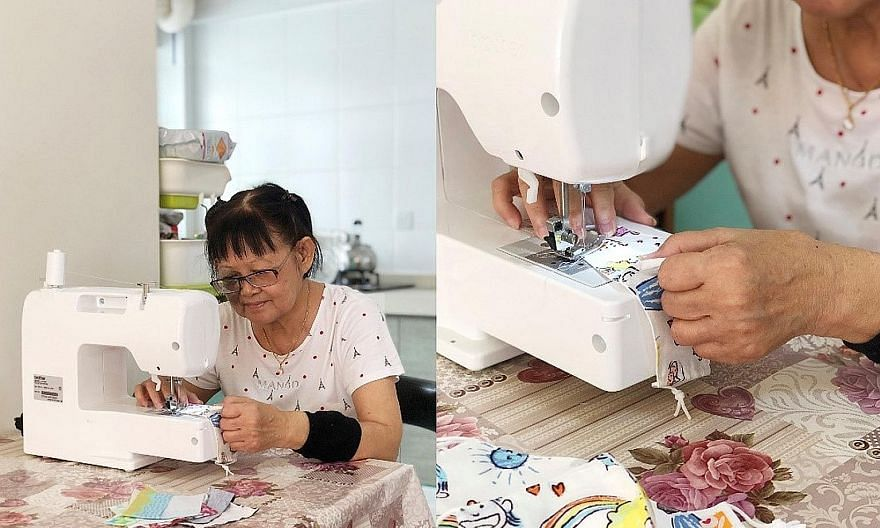 Connezt Dots seamstress Angela Foo sewing fabric masks. Face masks made by the social enterprise, which employs home-based seamstresses from low-income families, are among the items Orange Valley Nursing Homes is donating to the underprivileged.