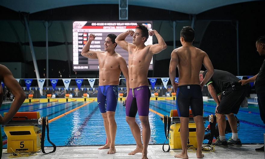 Olympic champion Joseph Schooling, pictured with 4x100m free relay teammate Quah Zheng Wen at the 2017 SEA Games, is Singapore swimming's biggest success story. The men's and women's relay teams are still aiming to qualify for the Tokyo Games.
