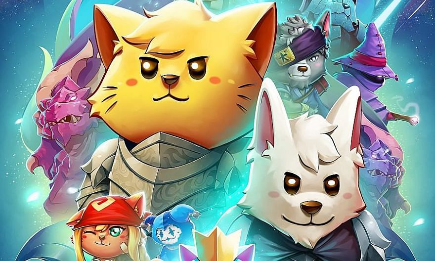 The Gentlebros co-founders (clockwise from far left) Desmond Wong, Leon Ho and Nursyazana Zainal released a free update called The Mew World for Cat Quest II (above) to celebrate the feline franchise's third birthday.