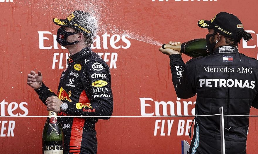 Red Bull's Max Verstappen (left) is second and 30 points behind Lewis Hamilton of Mercedes in the drivers' championship after five races this season.