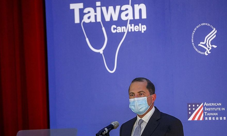 United States Health Secretary Alex Azar, the highest-level American official to visit Taiwan in four decades, giving a speech at a university in Taipei last Tuesday. To make its displeasure known, China's army held combat drills in the Taiwan Strait