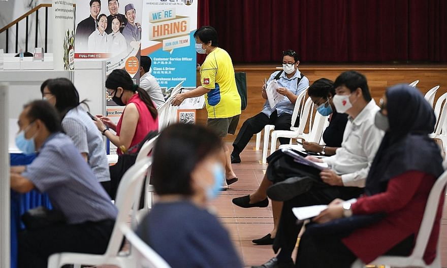 More than 120 job seekers turned up at a job fair organised by NTUC's Employment and Employability Institute (e2i) and held at Bukit Panjang Community Centre yesterday. A total of 464 jobs were on offer, including openings for cleaners, delivery ride