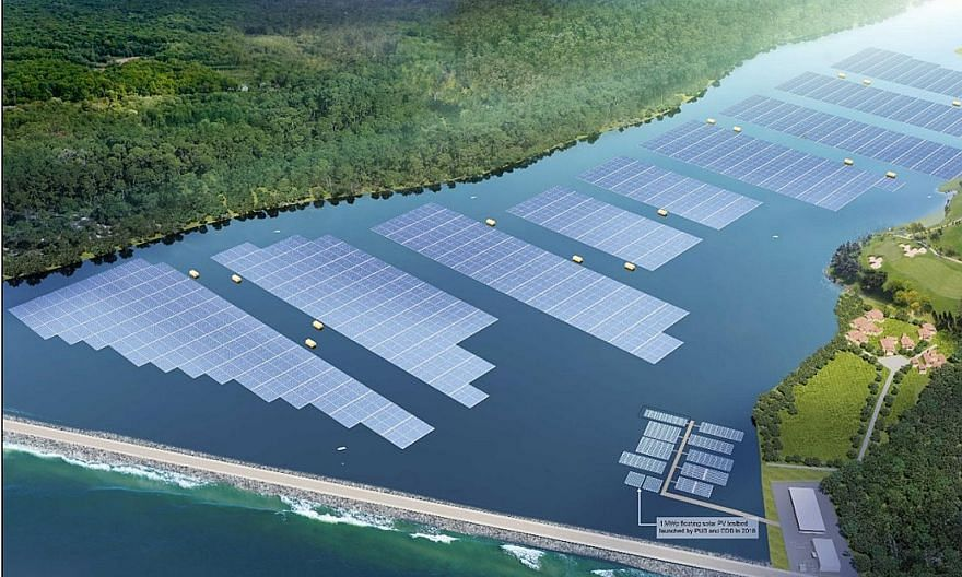 Above and left: An artist's impression of the floating solar photovoltaic system that is scheduled to be completed on Tengeh Reservoir in Tuas next year. When completed, it can generate enough energy to power about 16,000 four-room Housing Board flat