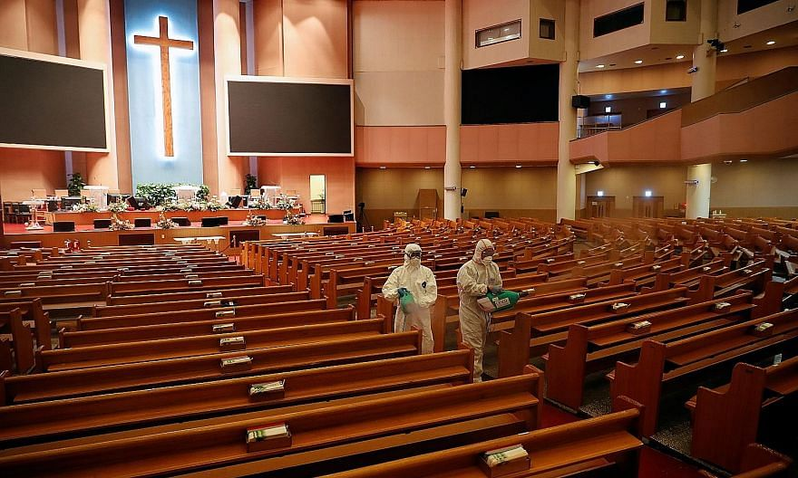 Seoul's Yoido Full Gospel Church, which is the largest church in South Korea, being sanitised by a disinfection company yesterday.
