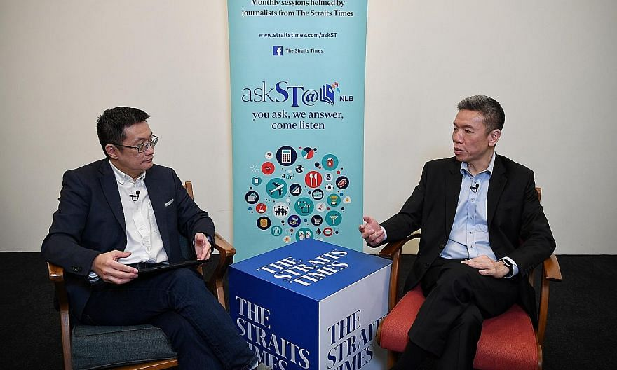 The Straits Times' Invest editor Tan Ooi Boon (left) and Mr Alfred Chia, chief executive of financial advisory firm SingCapital, at the askST@NLB virtual session on managing one's money during the pandemic, aired on The Straits Times Facebook page on