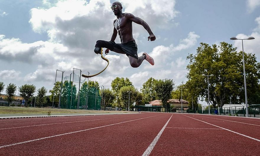 French long jumper Jean-Baptiste Alaize, 29, training in France last week. He lost his leg during the conflict in Burundi in 1994.