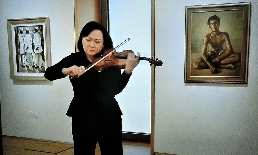 Lynnette Seah in a violin recital as part of the National Gallery Singapore's Art + Live concert series that was held on Facebook Live.