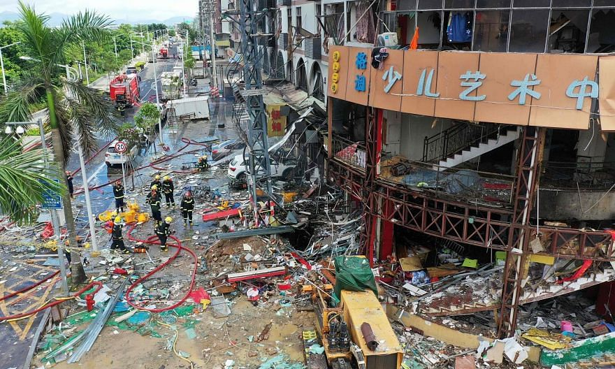 The gas explosion took place at about 9am in a crowded neighbourhood in Zhuhai city, Guangdong province. Three people were injured. PHOTO: AGENCE FRANCE-PRESSE