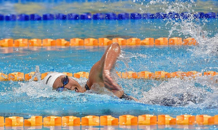 Quah Ting Wen competing during last year's Singapore National Age Group Swimming Championships. The cancellation owing to the coronavirus pandemic of this year's event, one of the Olympic qualifying meets, has thrown into disarray her attempt of maki