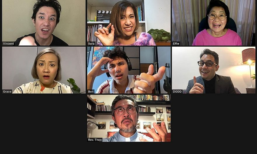 Waiting For The Host (left), about a crew of misfits who gather online to rehearse a Passion Play, is being adapted to a Singapore context, filmed in actors' homes and directed remotely. (Above left) Wild Rice's Ivan Heng in a scene from short film T